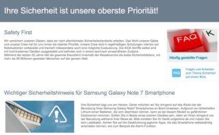 Warnhinweis: AIDA Cruises verbietet Nutzung von Samsung Galaxy 7 Note an Bord / © AIDA Cruises