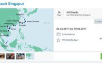 AIDAbella von China nach Singapur