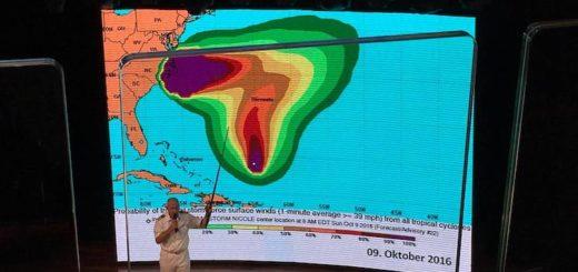 AIDA Kapitän Mey erklärt die Ausmaße des Hurricanes im Theatrium der AIDAluna / © Harald Manger
