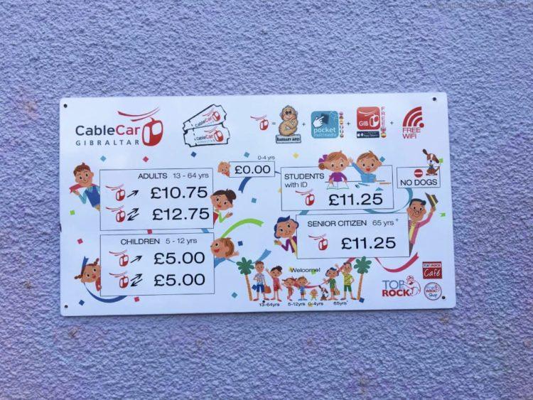 Preise CableCar Gibraltar