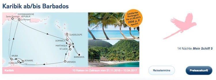 Mein Schiff 5 Karibik ab/bis Barbados / © TUI Cruises