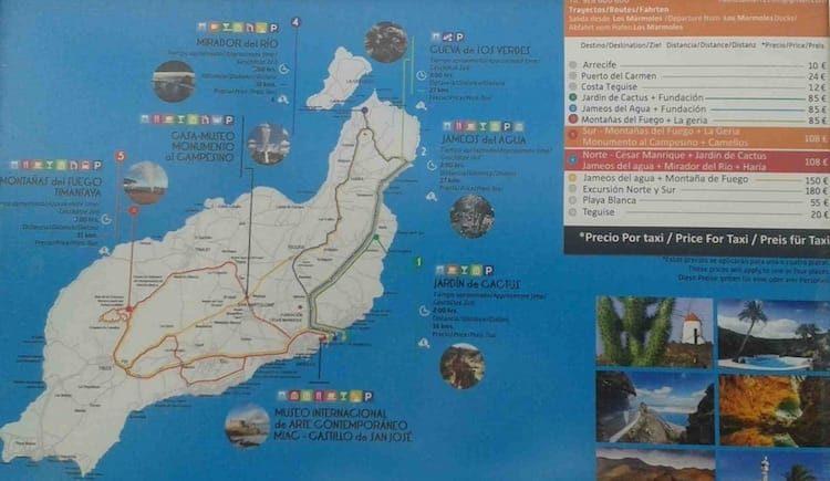 Taxikosten für Landausflüge Lanzarote
