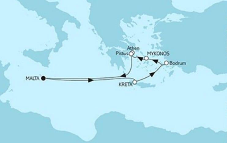 Mein Schiff 2 Ägäis mit Kreta © TUI Cruises