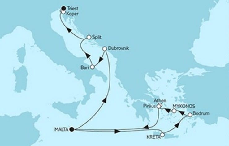 Mein Schiff 2 Ägäis & Valletta trifft Triest © TUI Cruises