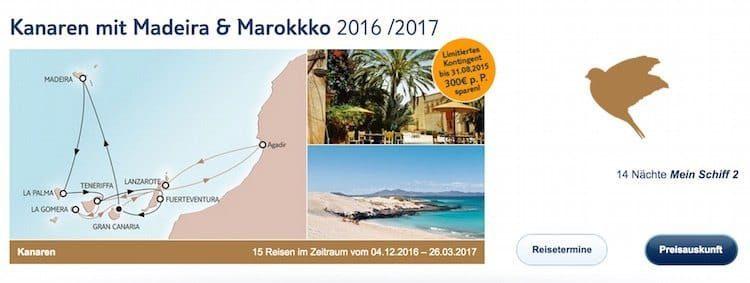 Mein Schiff 2 Kanaren und Marokko ©TUI Cruises