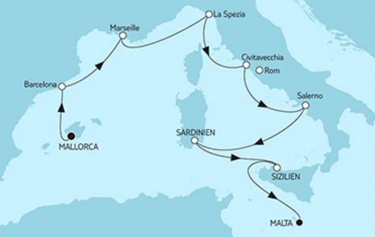 Mein Schiff 2 Mallorca trifft Malta © TUI Cruises