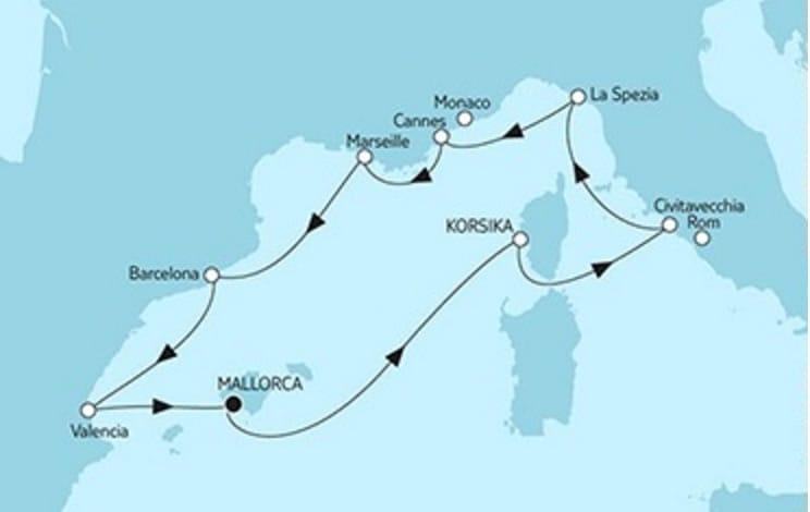Mein Schiff 2 Mittelmeer mit Valencia © TUI Cruises