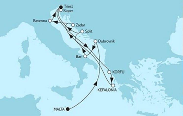 Mein Schiff 2 Valletta trifft Triest & Adria © TUI Cruises
