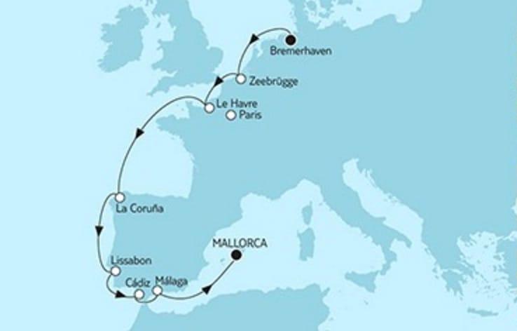 Mein Schiff 5 Bremerhaven trifft Mallorca 1 © TUI Cruises