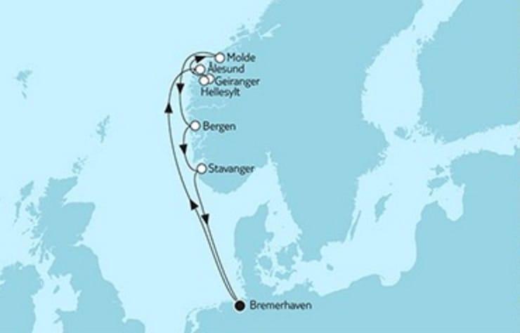 Mein Schiff 5 Südnorwegen mit Molde © TUI Cruises