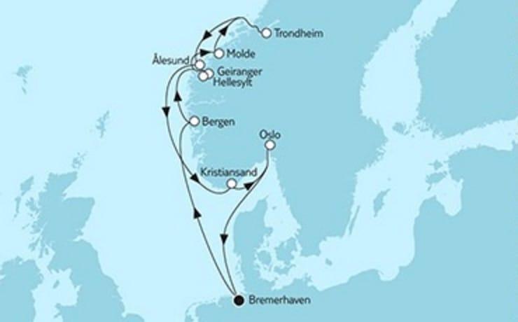 Mein Schiff 5 Südnorwegen mit Trondheim © TUI Cruises