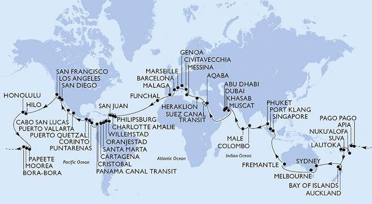 Die Route der MSC Magnifica Weltreise 2019