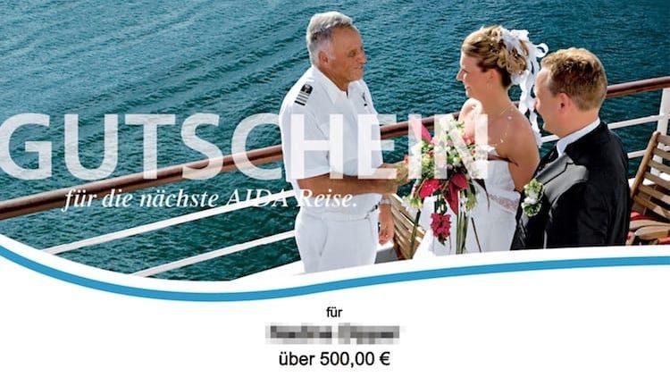 AIDA Gutschein: Zahlt damit eure Reise oder Dinge auf myAIDA.de