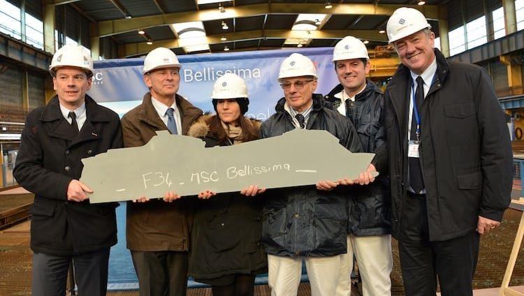 Stahlschnitt der MSC Bellissima auf der STX Werft in Frankreich / © MSC Kreuzfahrten