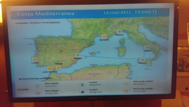 Aktuelle Route der Medi im Mittelmeer