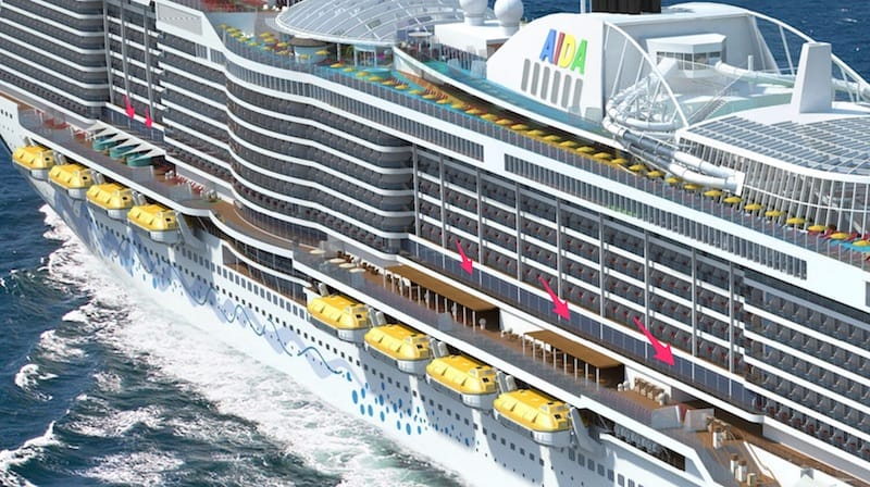 Lanai Kabinen auf der AIDA Helios - Aussenansicht / © AIDA Cruises