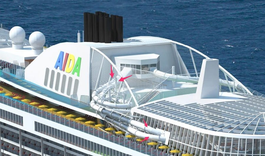 Die AIDA Racer Rutsche mit der zweiten Rutsche auf der Backbordseite auf AIDAnova / © AIDA Cruises