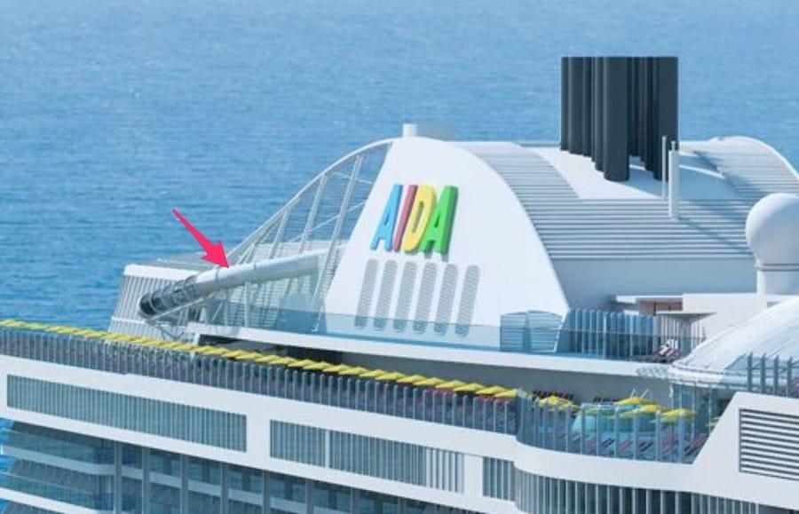 Die AIDA Racer Rutsche auf der Steuerbordseite auf AIDAnova / © AIDA Cruises