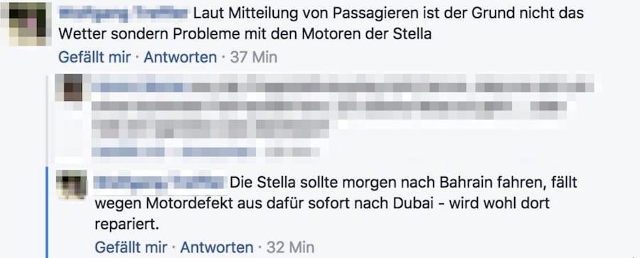 AIDAstella Maschinenschaden - Kommentar in Facebook / © Facebook