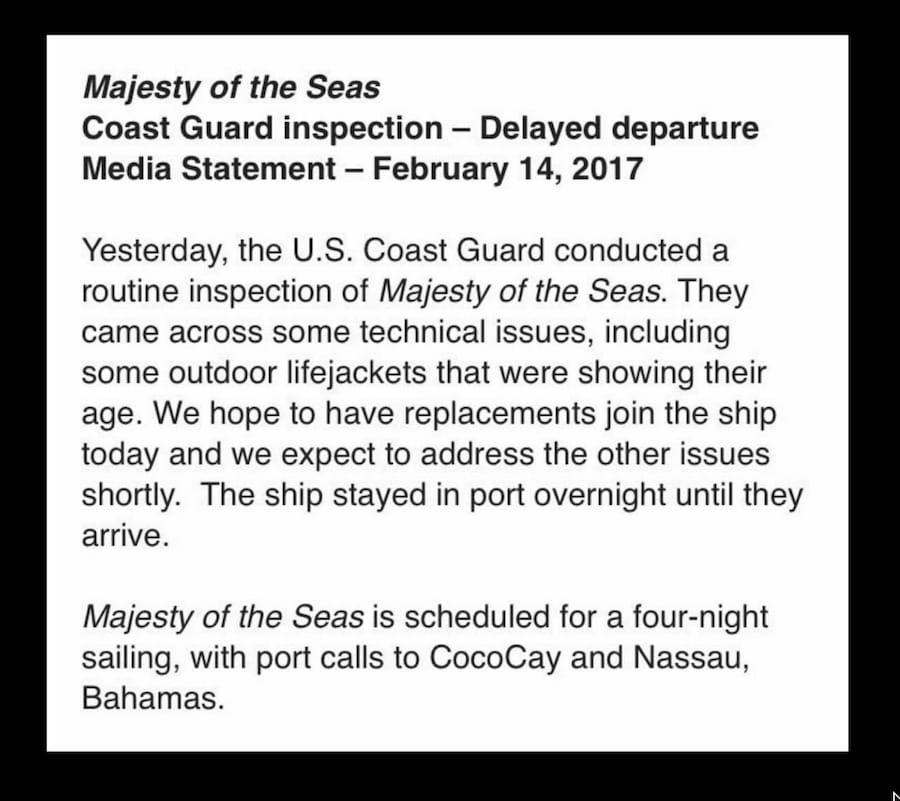 Royal Caribbean bestätigt den Vorfall