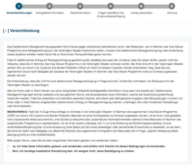 ESTA Antrag Verzichterklärung @ ESTA Screenshot