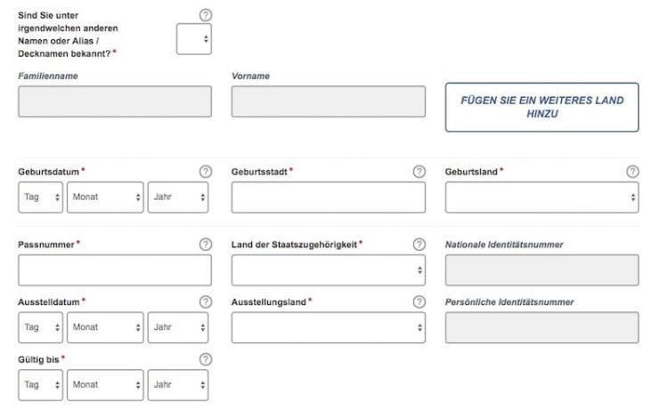 ESTA Antrag Antragsstellerinformation © ESTA Screenshot