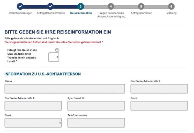ESTA Antrag Reiseinformation © ESTA Screenshot
