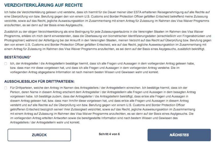 ESTA Antrag Fragen betreffend Teilnahmeberechtigung © ESTA Screenshot