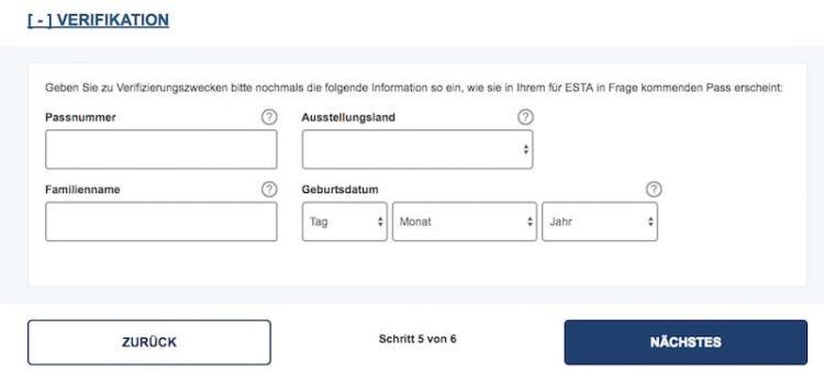 ESTA Antrag überprüfen © ESTA Screenshot