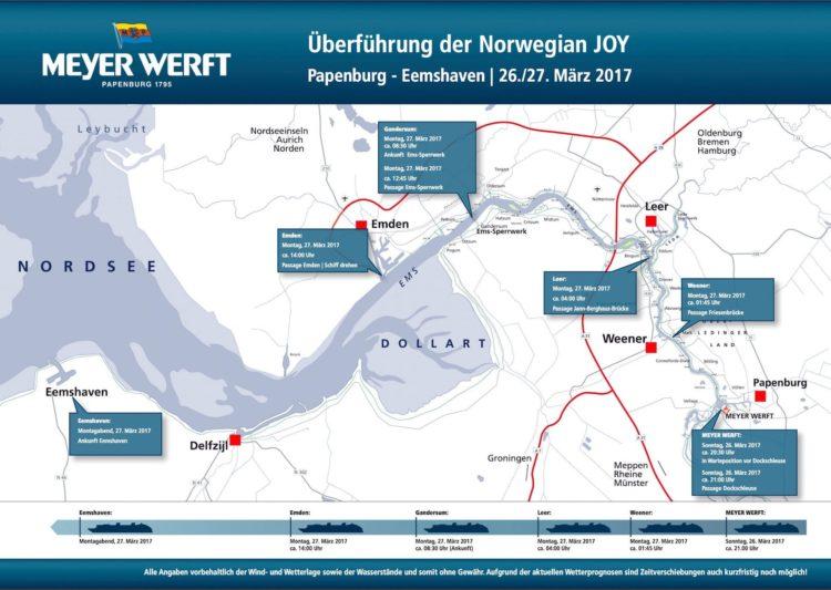 Emsüberführung der Norwegian Joy - der detaillierte Überführungsplan / © Meyer Werft