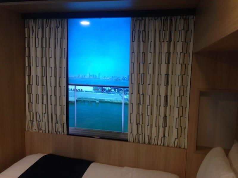 Virtueller Balkon in der Singlekabine auf der Harmony of the Seas