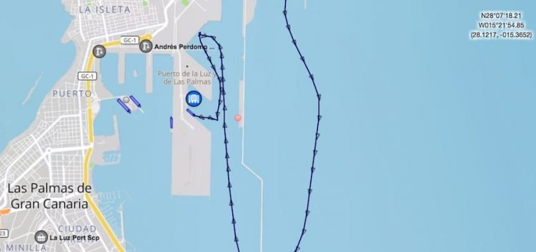 Der Kurs bis zum Aufprall der Fähre / © Marinetraffic.com