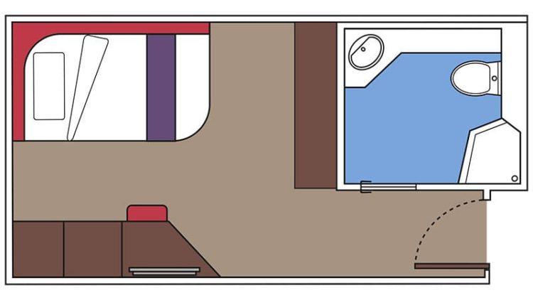 MSC Meraviglia: Singlekabine Grundriss / © MSC Cruises