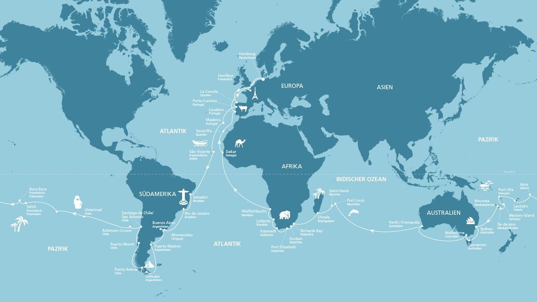 ⚓ AIDA Weltreise 2018   AIDAaura Weltreise ab Hamburg - 117 Tage ⚓