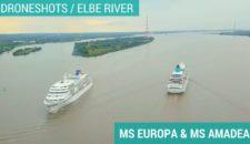 Video: MS Amadea und MS Europa treffen sich auf der Elbe (Luftaufnahmen / Droneshots)