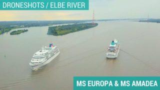 MS Europa und MS Amadea treffen sich auf der Elbe - Drohnenaufnahmen