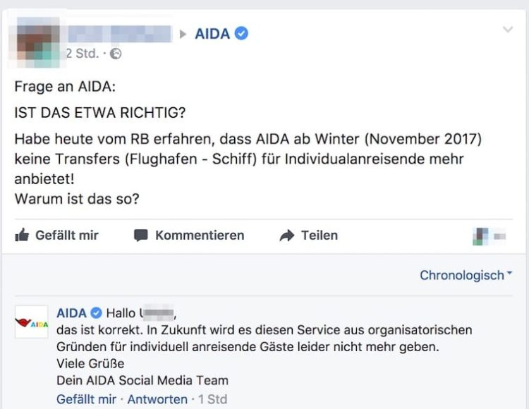AIDA Bestätigung auf Facebook / © Screenshot AIDA Facebook-Seite