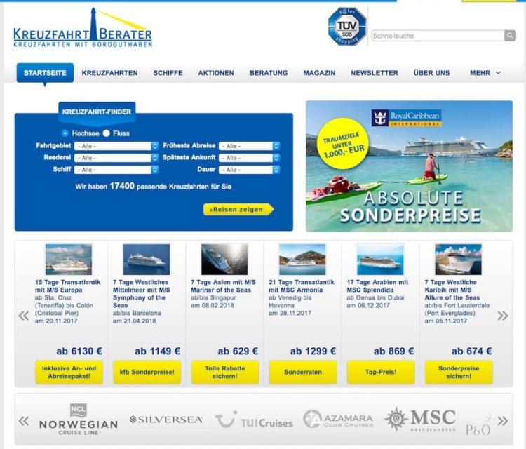 Kreuzfahrtberater.de wurde an Cruise.co.uk verkauft / Screenshot: www.kreuzfahrtberater.de