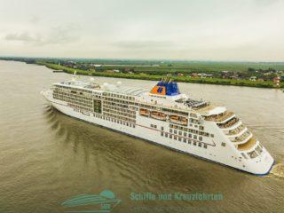 Bilder: MS Europa 2 aus der Luft auf der Elbe (Droneshots / Luftbilder)