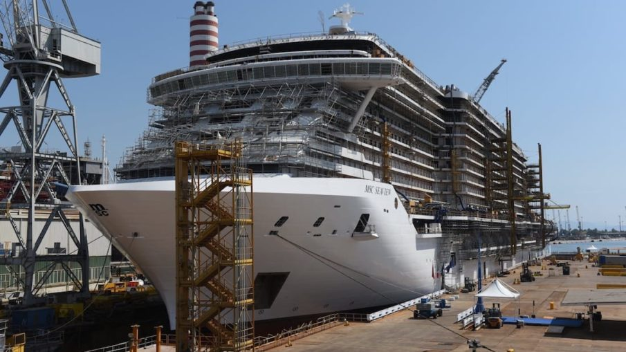MSC Seaview beim Aufschwimmen auf der Fincantieri Werft / © MSC Cruises