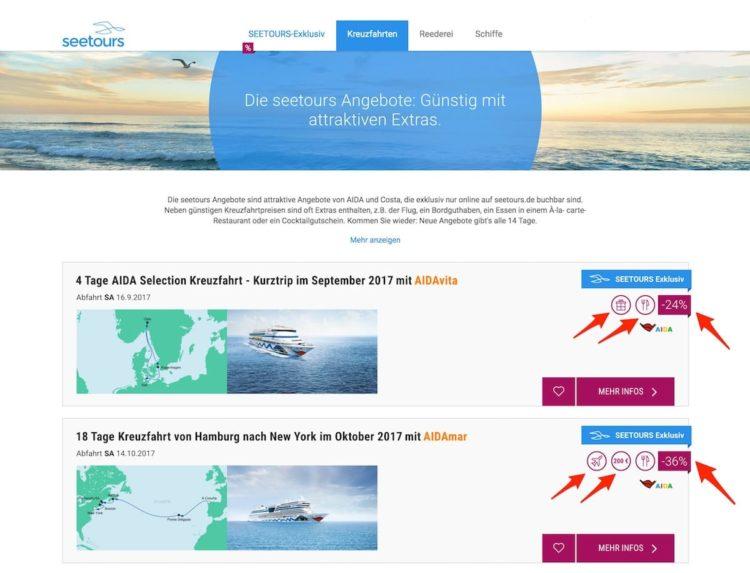 Seetours Angebote - AIDA und Costa Kreuzfahrten zu Sparpreisen mit Zugaben