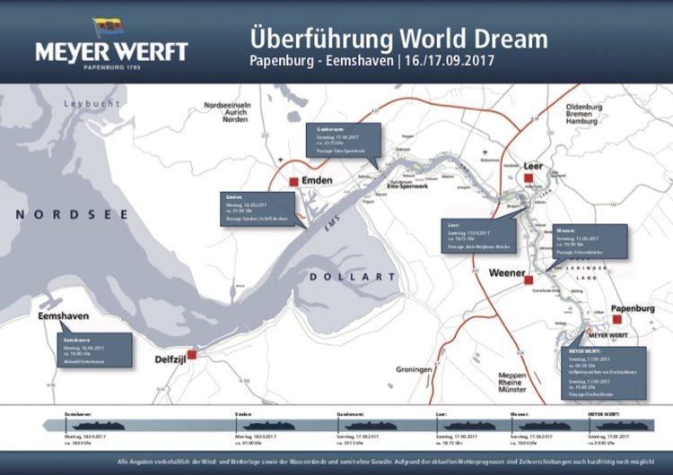 Plan der Emsüberführung der World Dream / © Meyer Werft
