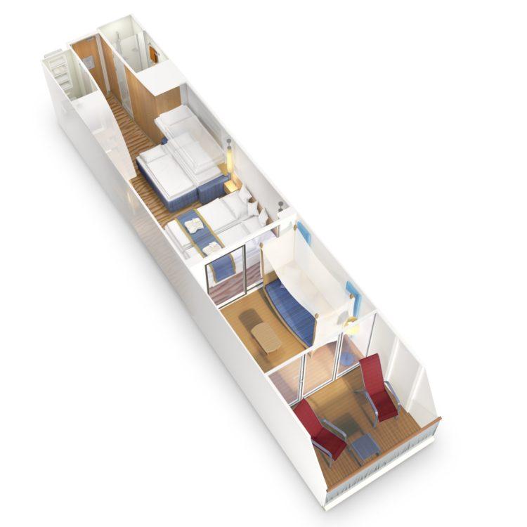 AIDAprima / AIDAperla Verandakabine Deluxe mit Lounge zur 5er Belegung / Familienkabine © AIDA Cruises