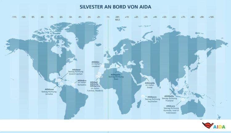AIDA Schiffe an Silvester 2017 / © AIDA Cruises