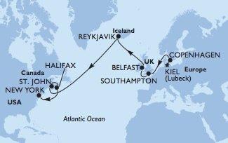 MSC Meraviglia Transatlantik Kreuzfahrt von Kiel nach New York © MSC Kreuzfahrten