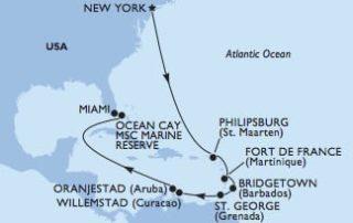 MSC Meraviglia von New York nach Miami © MSC Kreuzfahrten