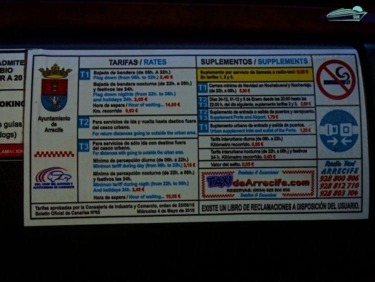 Taxipreise Lanzarote