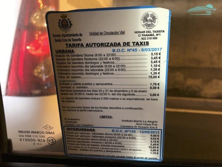 Taxipreise auf Teneriffa