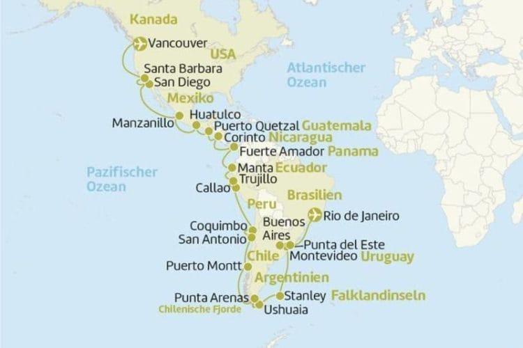 MS Zaandam : 45 Tage von Vancouver nach Rio de Janeiro / ©Berge & Meer