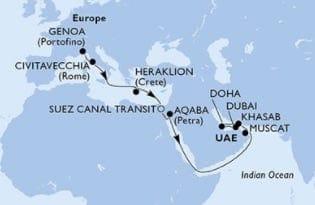 MSC Bellissima von Genua nach Dubai © MSC Kreuzfahrten